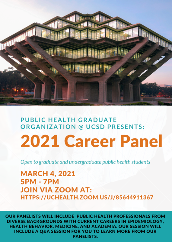 Public Health Career Panel hosted by Public Health Graduate Organization, March 4th at 5 pm